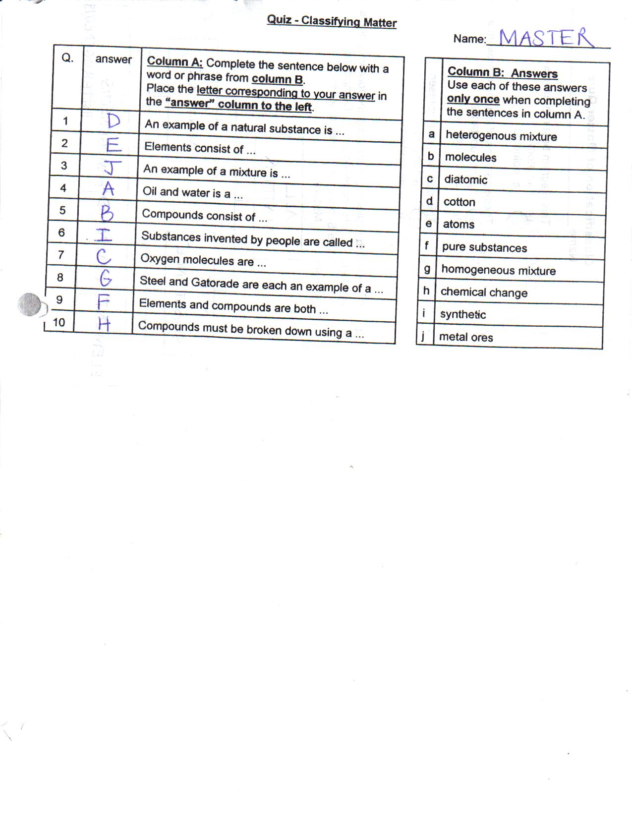 Classification of Matter Quiz.
