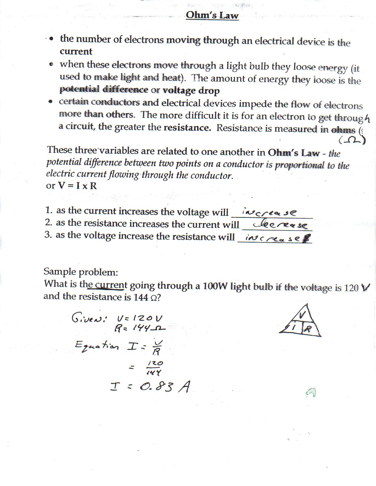 Worksheet Ohms Law Worksheet toxic science ohms law calculations