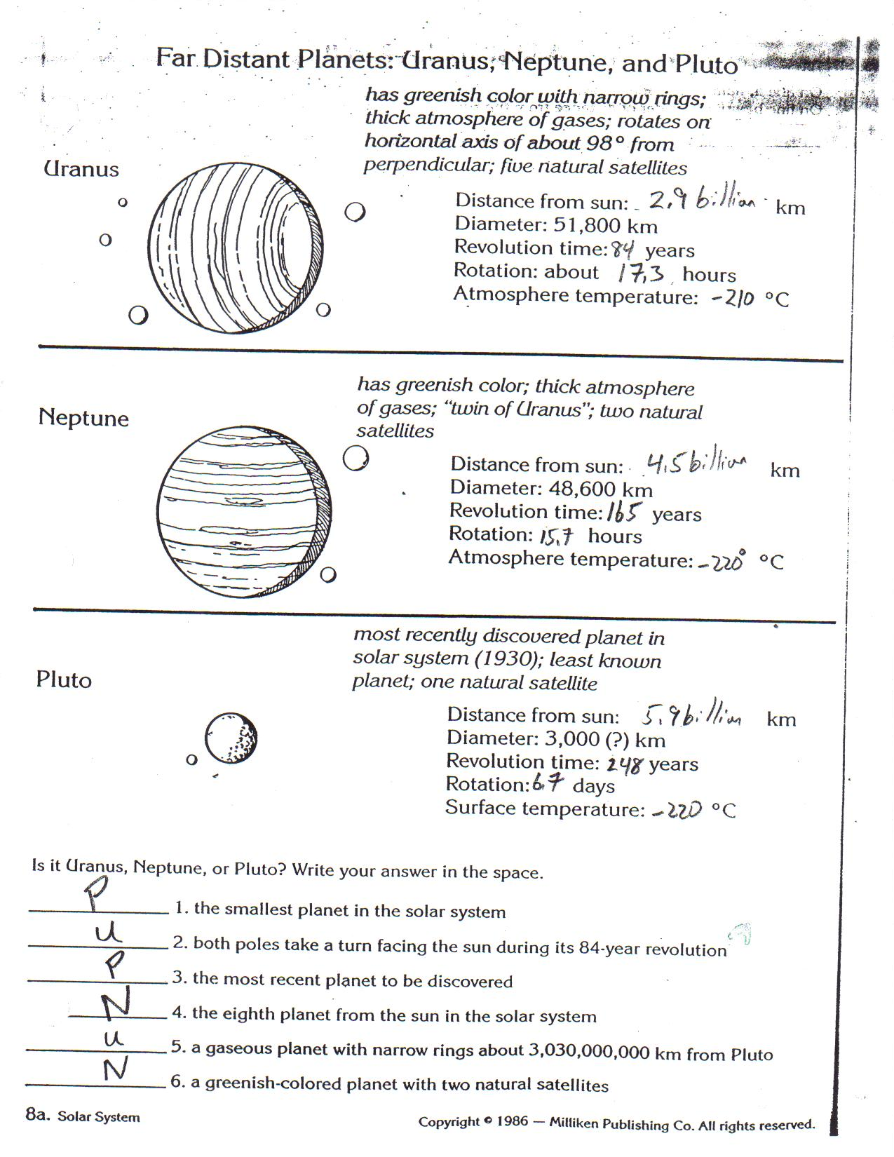 Worksheets Planets Worksheets ms tostiks science page planet worksheets d e f