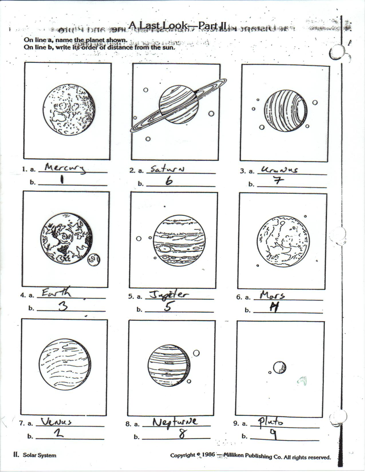Ms Tostiks Science Page – The Inner Planets Worksheet